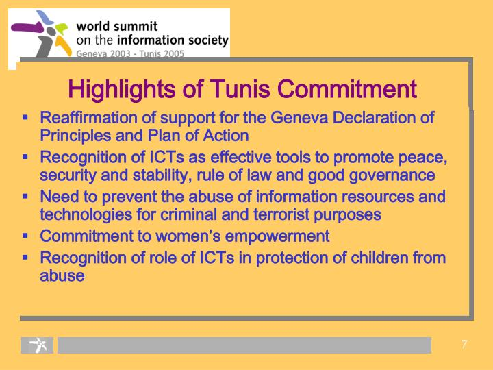 Highlights of Tunis Commitment
