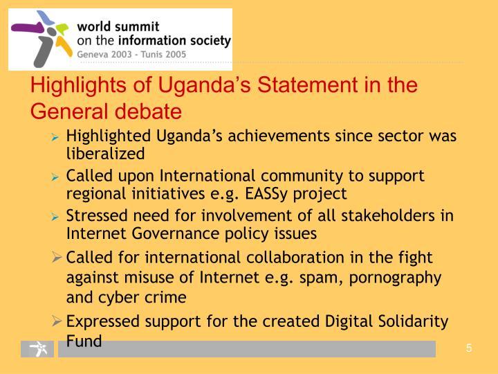 Highlights of Uganda's Statement in the General debate