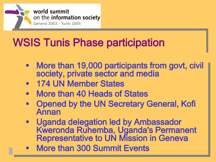 WSIS Tunis Phase participation