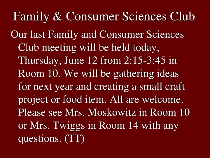 Family & Consumer Sciences Club
