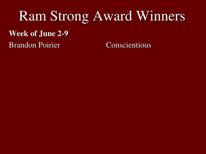 Ram Strong Award Winners