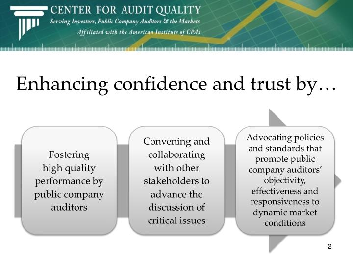 Enhancing confidence and trust by