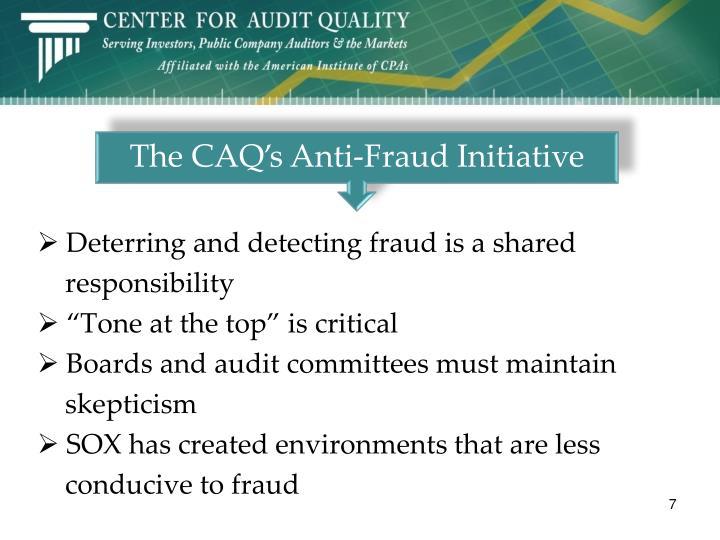 The CAQ's Anti-Fraud Initiative