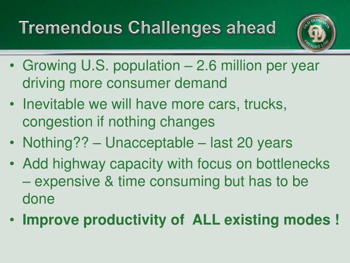 Tremendous Challenges ahead