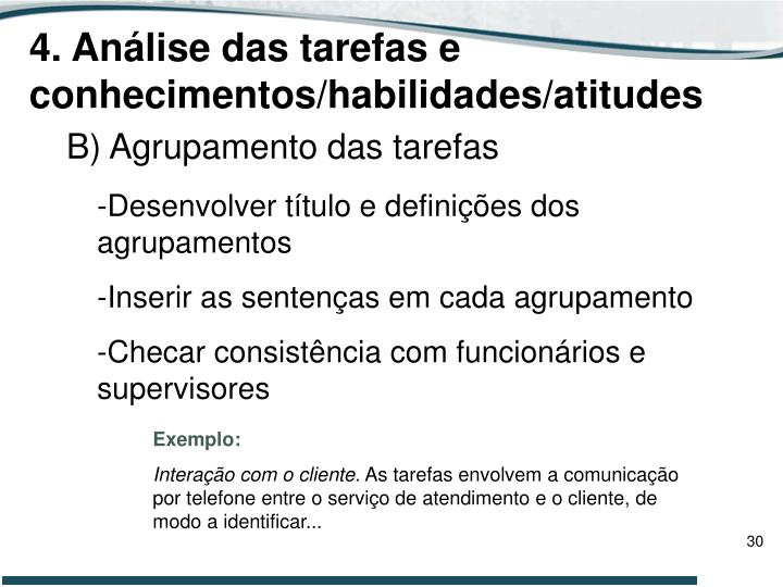 4. Análise das tarefas e conhecimentos/habilidades/atitudes
