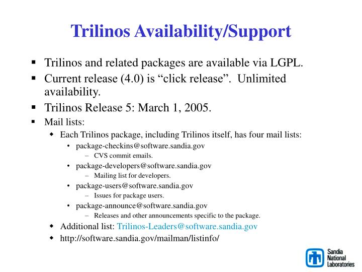 Trilinos Availability/Support