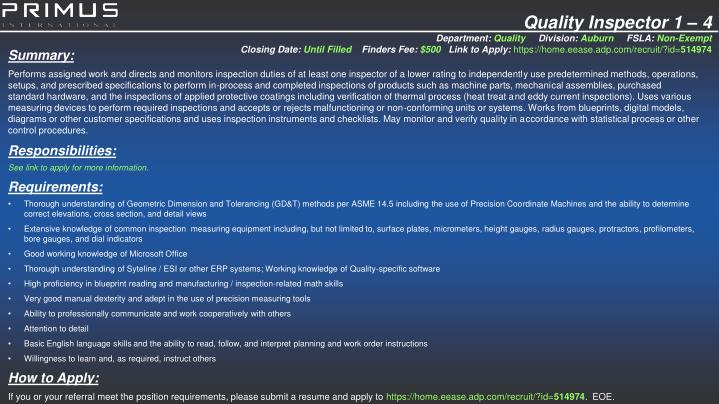Quality Inspector 1 – 4