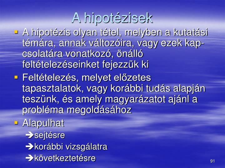 A hipotézisek