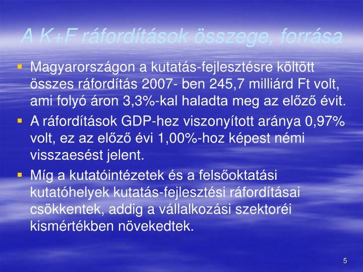 A K+F ráfordítások összege, forrása