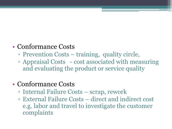 Conformance Costs