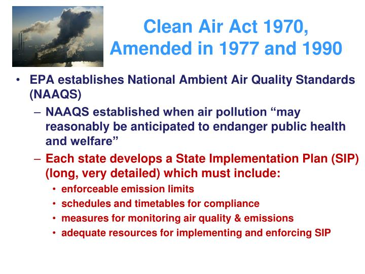 EPA establishes National Ambient Air Quality Standards (NAAQS)