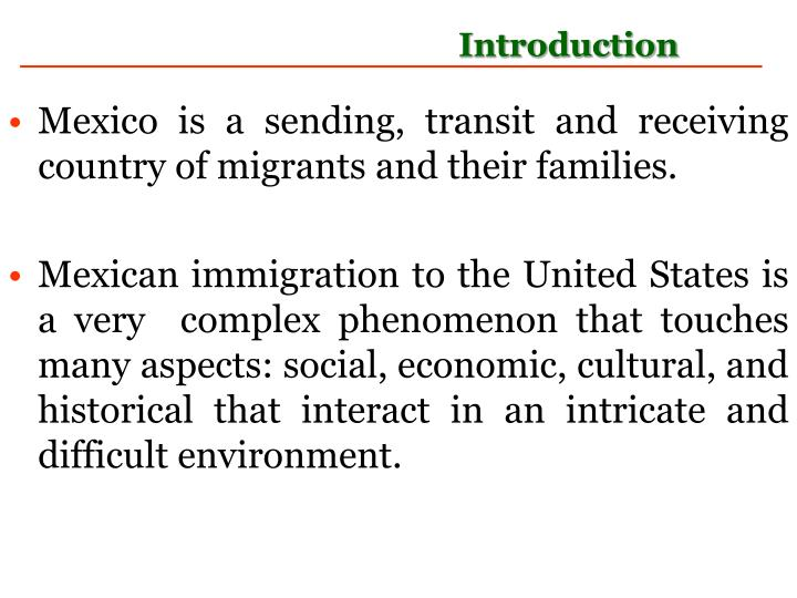 Mexico is a sending, transit and receiving country of migrants and their families.