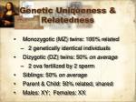 genetic uniqueness relatedness