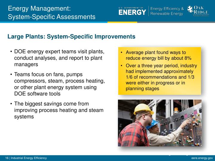 DOE energy expert teams visit plants, conduct analyses, and report to plant managers