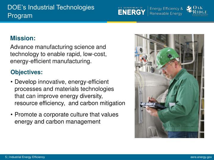 DOE's Industrial Technologies Program