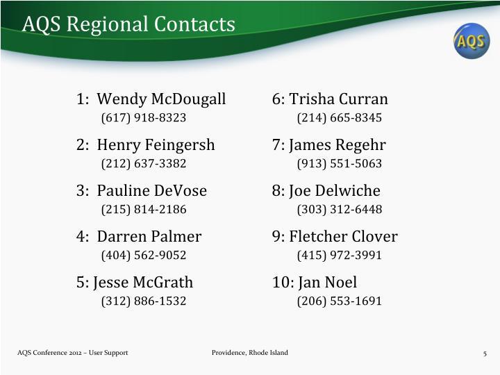 AQS Regional Contacts