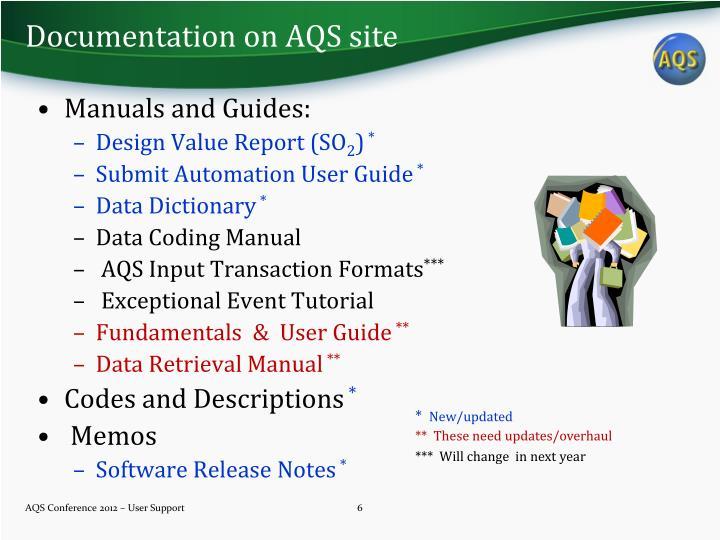 Documentation on AQS site