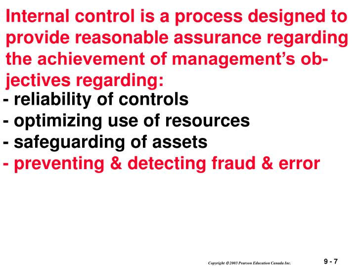 Internal control is a process designed to