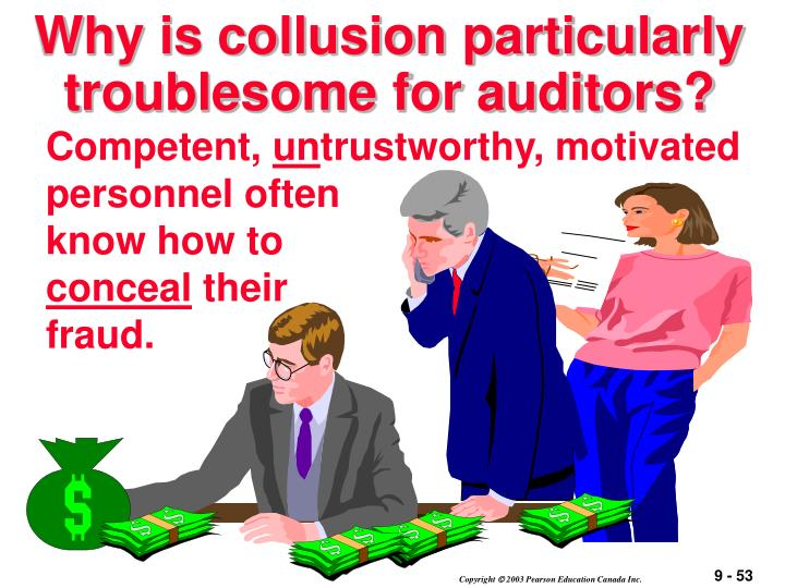 Why is collusion particularly troublesome for auditors?