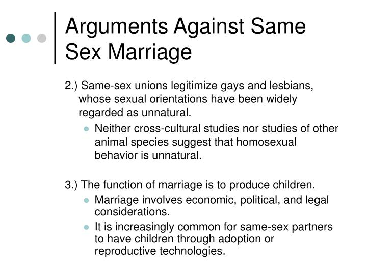 Arguments Against Same Sex Marriage
