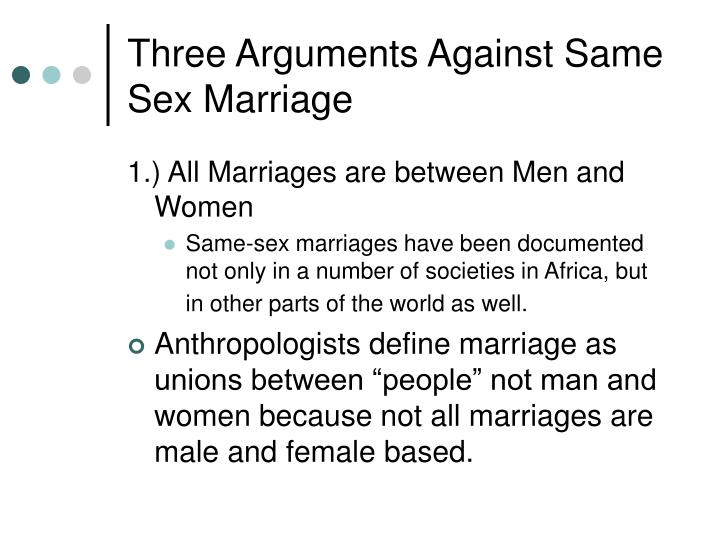 Three Arguments Against Same Sex Marriage
