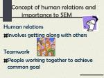 concept of human relations and importance to sem