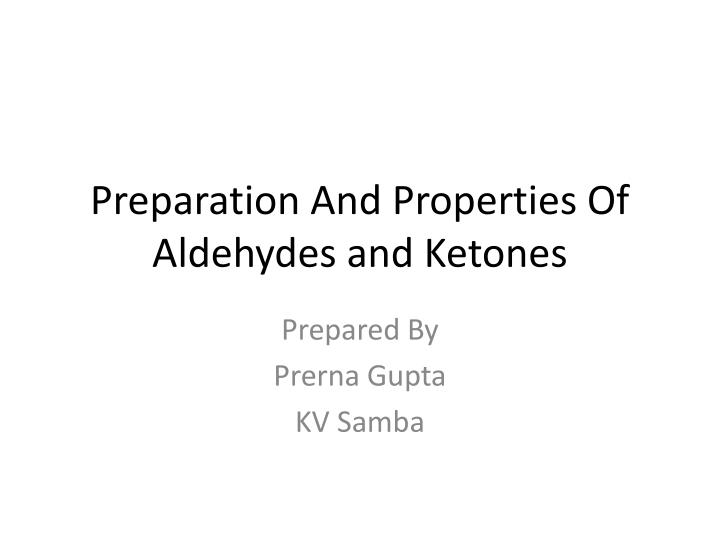 preparation and properties of aldehydes and ketones n.