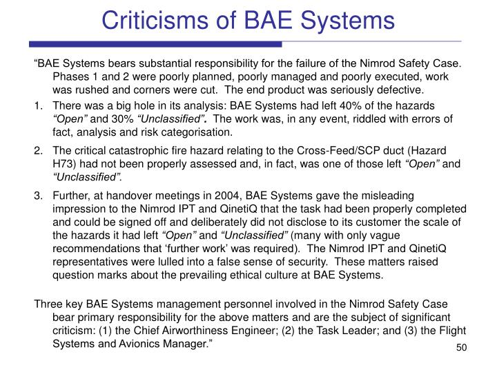 Criticisms of BAE Systems