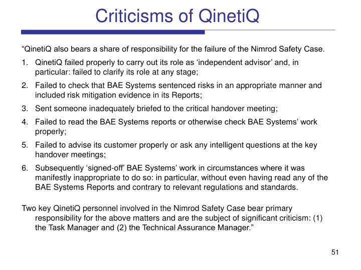 Criticisms of QinetiQ