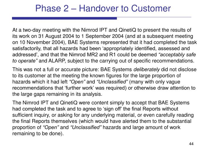 Phase 2 – Handover to Customer