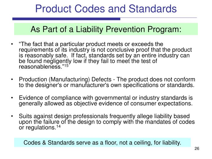 Product Codes and Standards