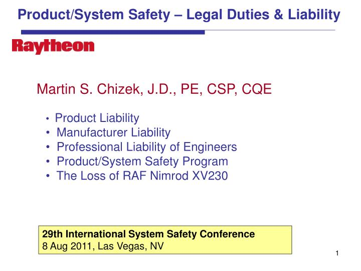 Product system safety legal duties liability