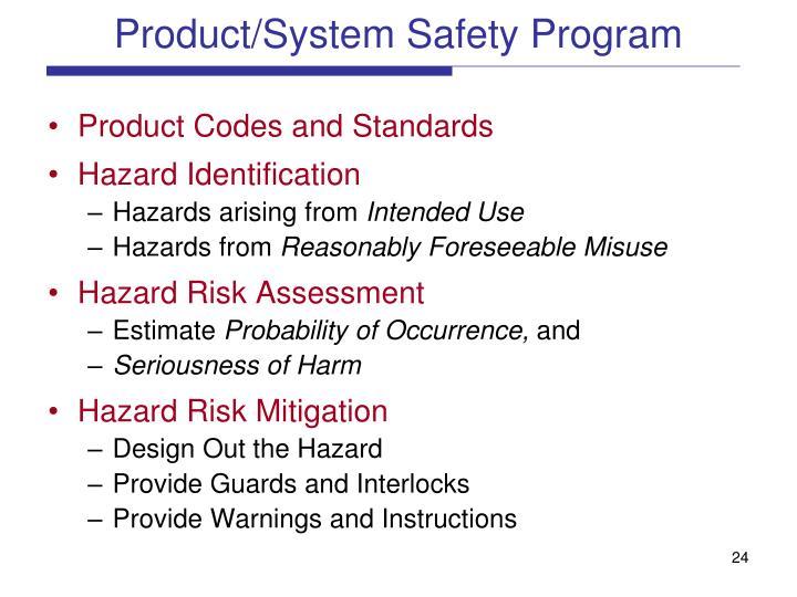 Product/System Safety Program