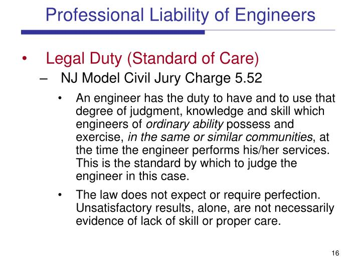 Professional Liability of Engineers