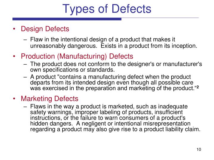 Types of Defects