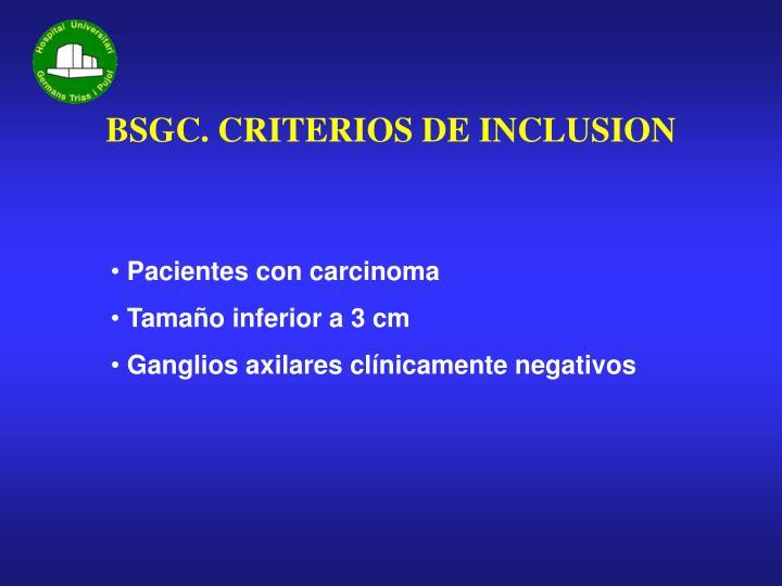 Bsgc criterios de inclusion