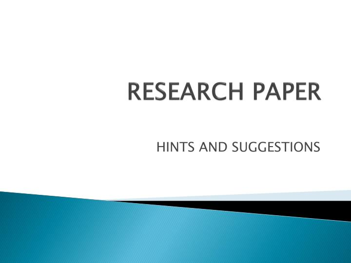 research paper presentation How to write a research paper go through your research and annotations to determine what points are the most pivotal in your argument or presentation of.