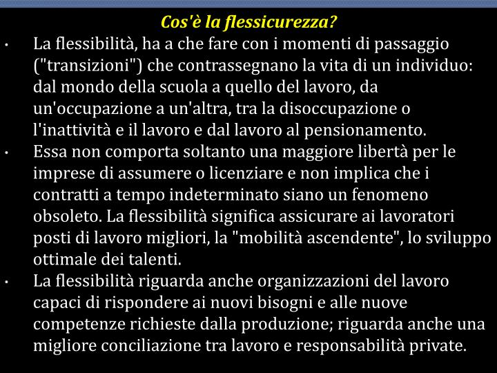 Cos'è la flessicurezza?
