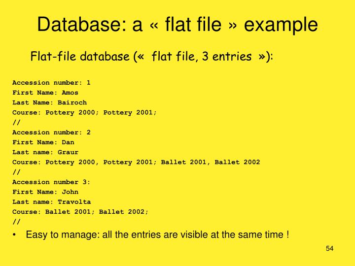 Database: a «flat file» example