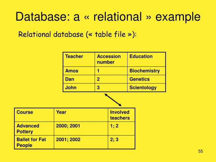 Database: a «relational» example