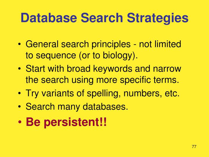 Database Search Strategies