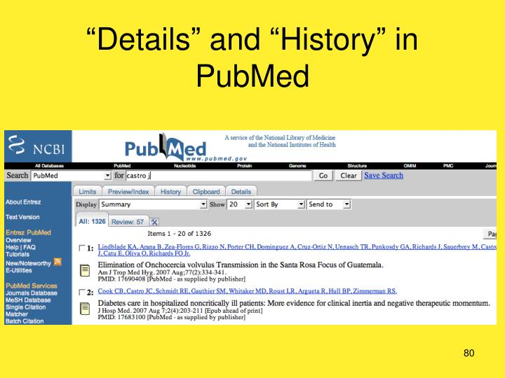 """""""Details"""" and """"History"""" in PubMed"""