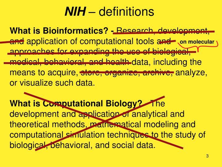 Nih definitions