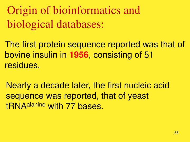 Origin of bioinformatics and