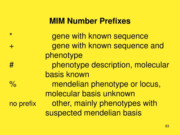 MIM Number Prefixes