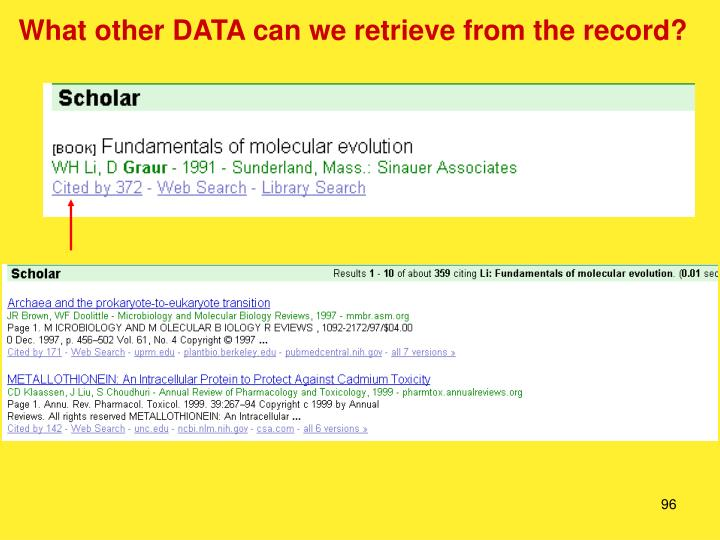 What other DATA can we retrieve from the record?