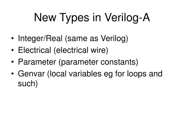 New Types in Verilog-A