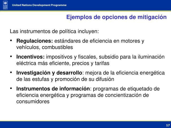 Ejemplos de opciones de mitigación