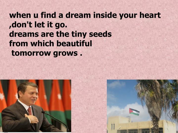 when u find a dream inside your heart