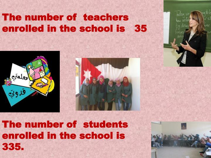 The number ofteachers enrolled in the school is   35